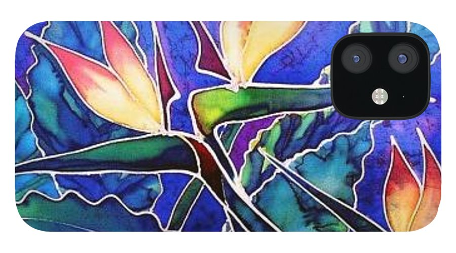 Silk Painting IPhone 12 Case featuring the painting Birds Of Paradise II by Francine Dufour Jones