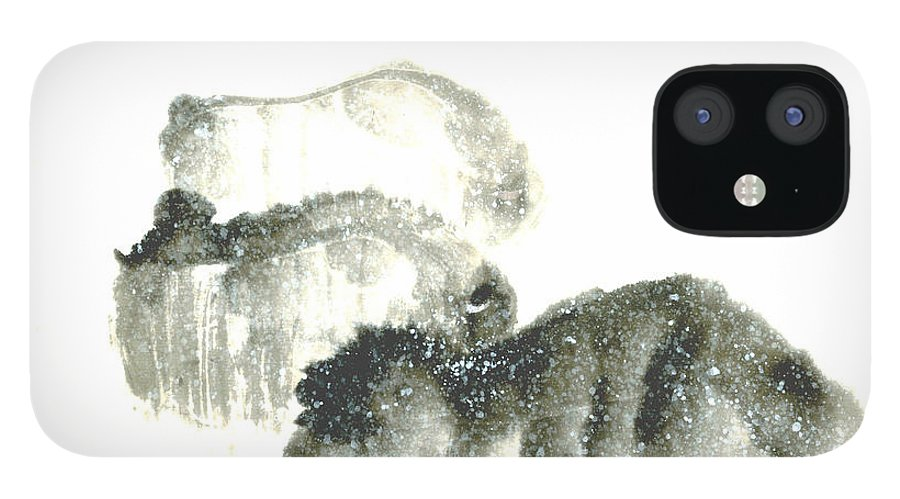 A Herd Of Bison Grazing In Snow. This Is A Contemporary Chinese Ink And Color On Rice Paper Painting With Simple Zen Style Brush Strokes.  IPhone 12 Case featuring the painting Bison In Snow II by Mui-Joo Wee