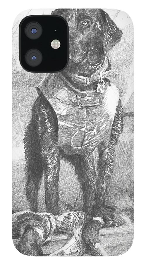 <a Href=http://miketheuer.com Target =_blank>www.miketheuer.com</a> Black Labrador Duck Hunting Pencil Portrait IPhone 12 Case featuring the drawing Black Labrador Duck Hunting Pencil Portrait by Mike Theuer