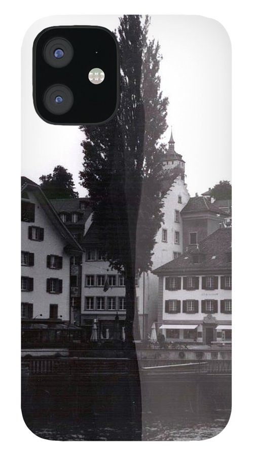 Black And White IPhone 12 Case featuring the photograph Black Lucerne by Christian Eberli