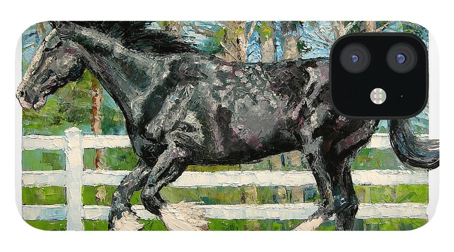 Horse IPhone 12 Case featuring the painting Black Power by John Lautermilch