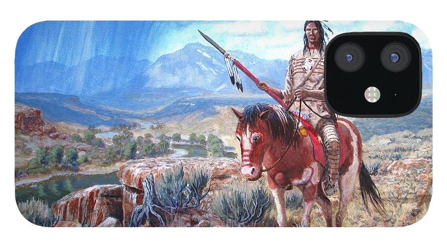 Blackfoot Warrior IPhone 12 Case featuring the painting Blackfoot Warrior by Scott Robertson