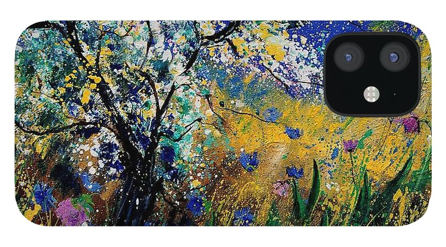 Spring IPhone 12 Case featuring the painting Blooming appletree by Pol Ledent