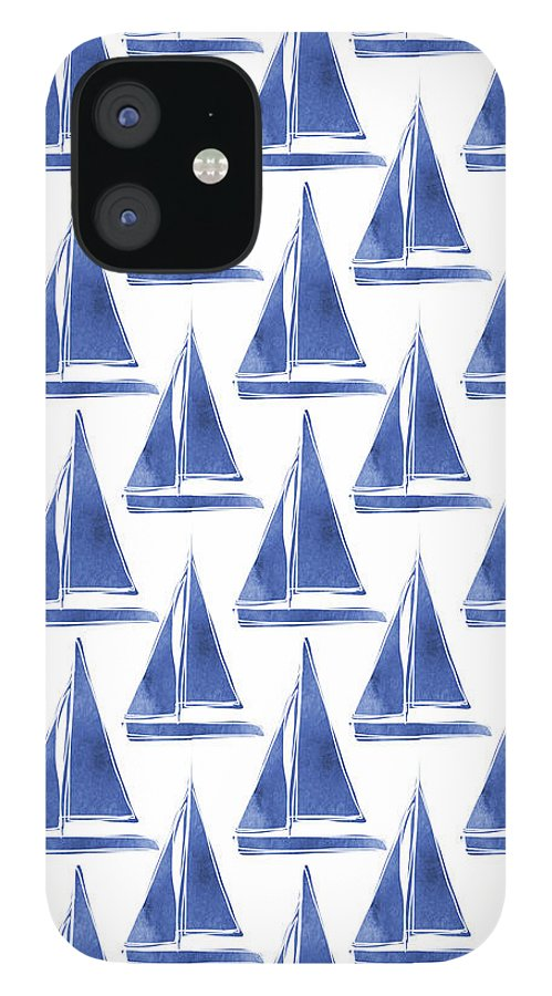 Boats IPhone 12 Case featuring the digital art Blue and White Sailboats Pattern- Art by Linda Woods by Linda Woods