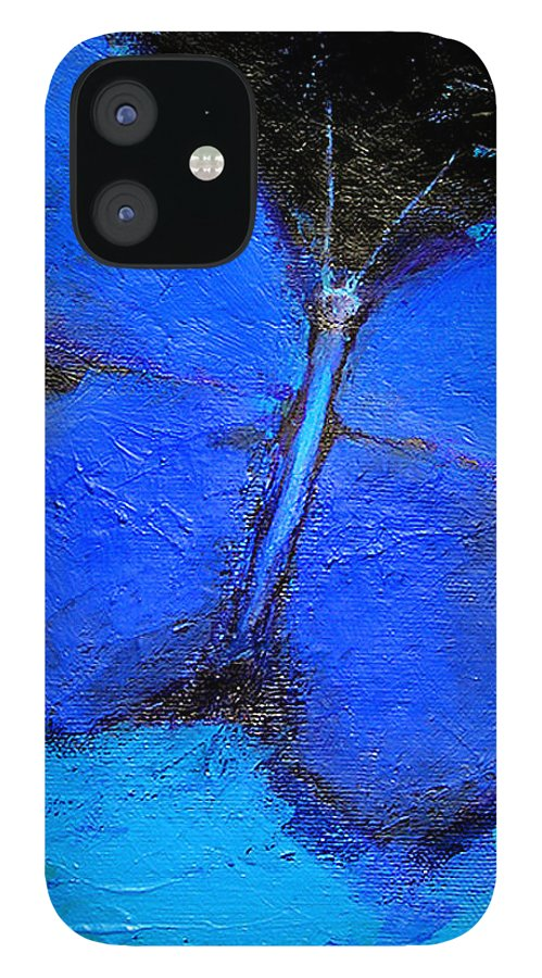 Butterfly IPhone 12 Case featuring the painting Blue Butterfly by Noga Ami-rav