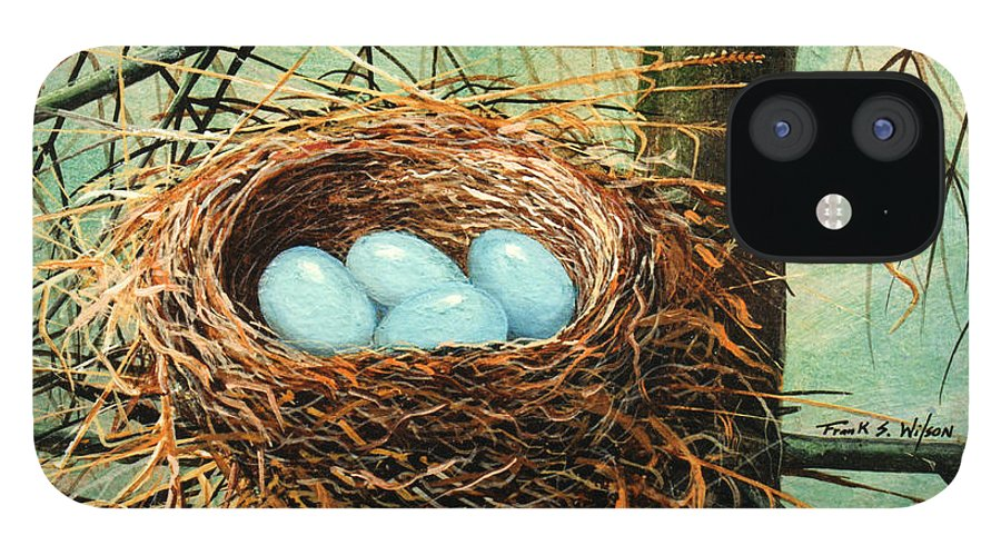 Wildlife iPhone 12 Case featuring the painting Blue Eggs In Nest by Frank Wilson