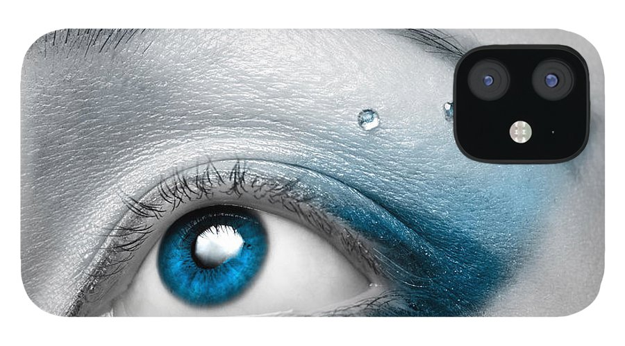 Eye IPhone 12 Case featuring the photograph Blue Female Eye Macro with Artistic Make-up by Maxim Images Prints