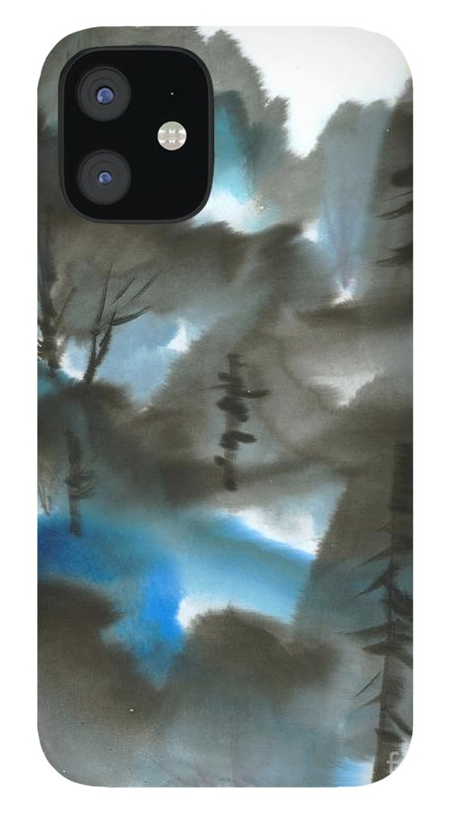 A Forest With A Tint Of Blue. This Is A Contemporary Chinese Ink And Color On Rice Paper Painting With Simple Zen Style Brush Strokes.  IPhone 12 Case featuring the painting Blue Forest by Mui-Joo Wee
