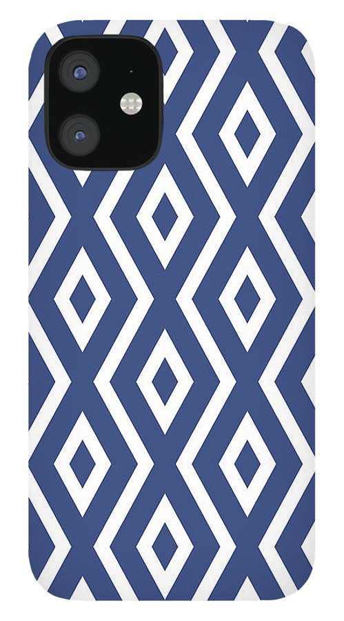 Blue And White iPhone 12 Case featuring the mixed media Blue Pattern by Christina Rollo