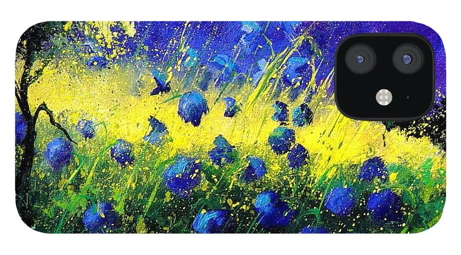 Flowers IPhone 12 Case featuring the painting Blue Poppies by Pol Ledent