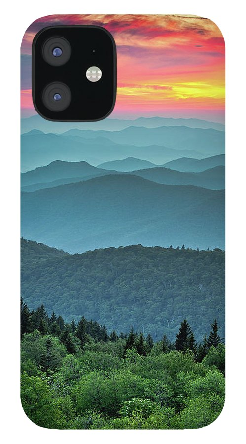 Blue Ridge Parkway IPhone 12 Case featuring the photograph Blue Ridge Parkway Sunset - The Great Blue Yonder by Dave Allen