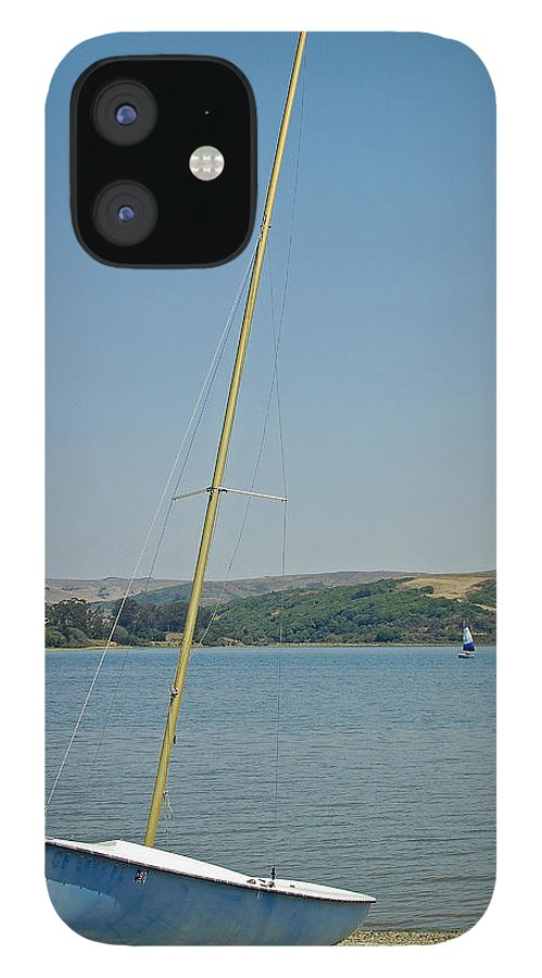 Blue IPhone 12 Case featuring the photograph Blue Sailboat by Suzanne Gaff
