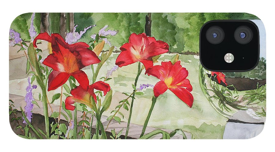 Flowers IPhone 12 Case featuring the painting Blue Sky Reflections by Jean Blackmer