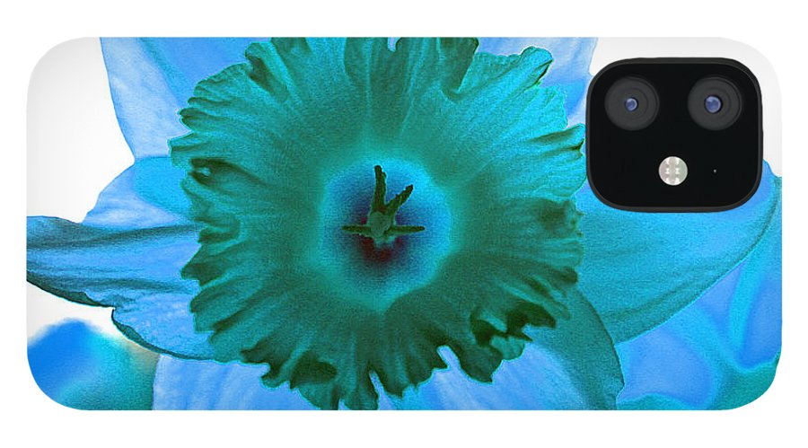 Flower Edit Color Blue Modern Edge Daffodil Bloom Nature IPhone 12 Case featuring the photograph Blue. by Stevie Ellis