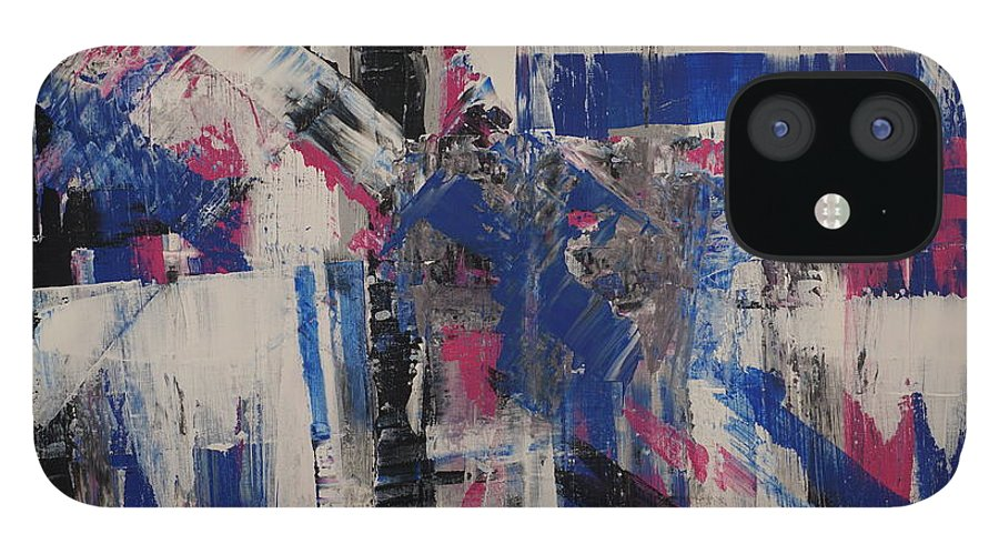Abstract IPhone 12 Case featuring the painting Blue Vision by Jimmy Clark