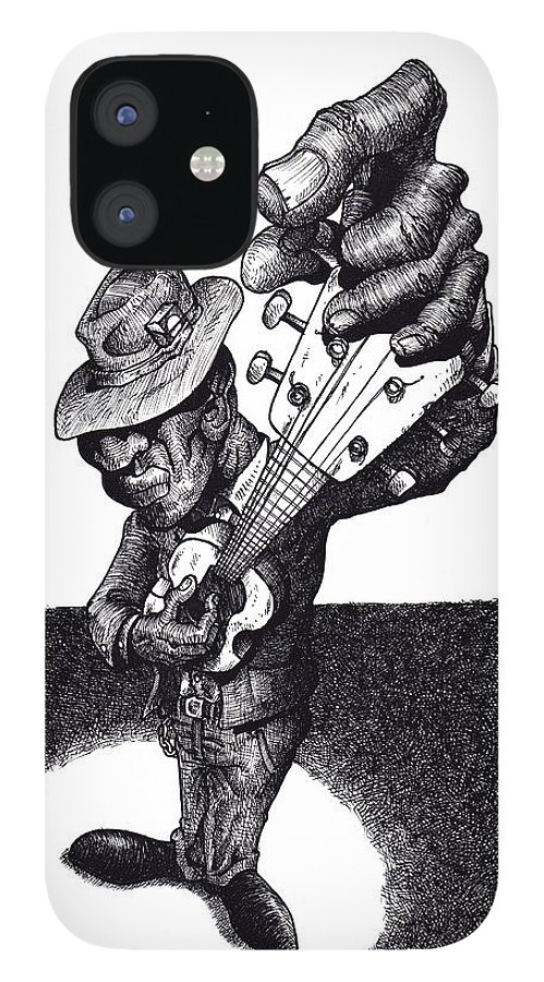 Blues IPhone 12 Case featuring the drawing Blues Guitar by Tobey Anderson