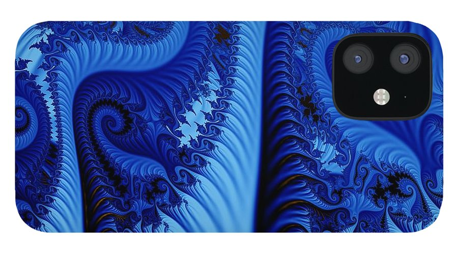 Fractal Art IPhone 12 Case featuring the digital art Blues by Ron Bissett