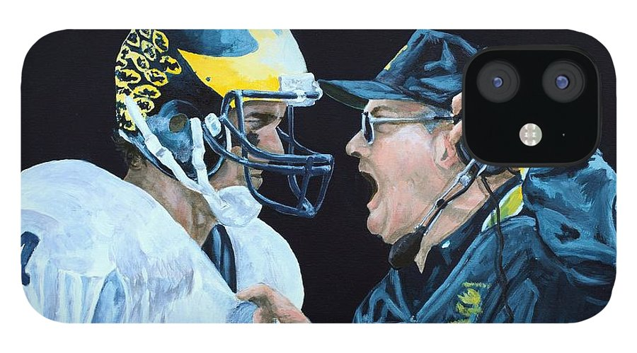 Michigan iPhone 12 Case featuring the painting BO Knows by Travis Day