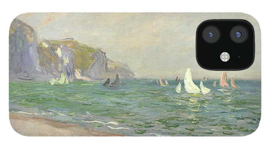 Boats IPhone 12 Case featuring the painting Boats below the Cliffs at Pourville by Claude Monet
