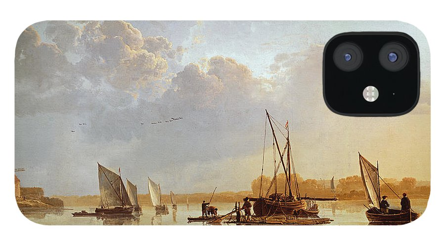 Boats On A River IPhone 12 Case featuring the painting Boats on a River by Aelbert Cuyp