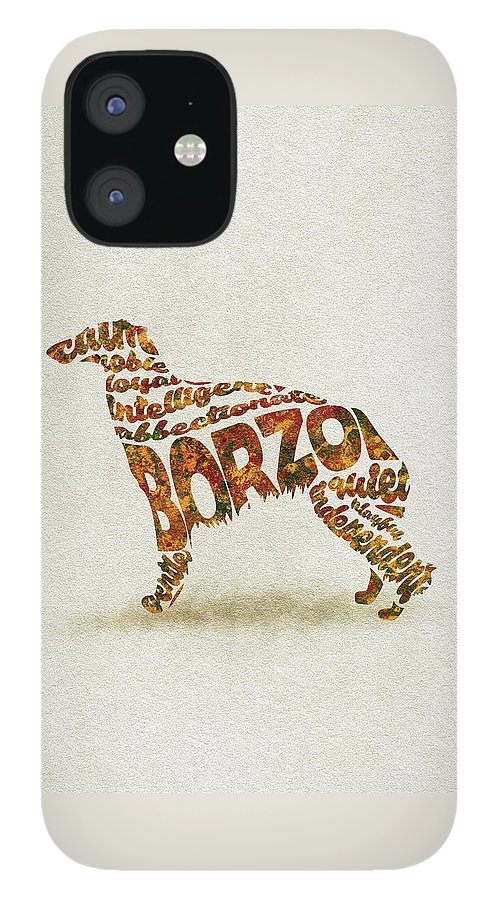 Borzoi IPhone 12 Case featuring the painting Borzoi Dog Watercolor Painting / Typographic Art by Inspirowl Design
