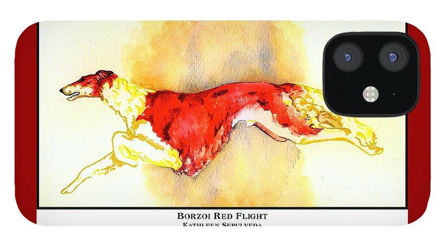 Borzoi IPhone 12 Case featuring the digital art Borzoi Red Flight by Kathleen Sepulveda