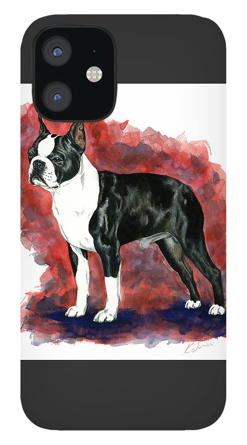 Art IPhone 12 Case featuring the painting Boston Terrier by Kathleen Sepulveda