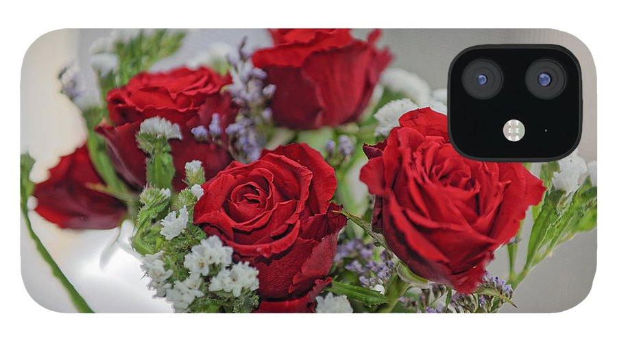 Anniversary IPhone 12 Case featuring the photograph Bouquet of red roses with white carnations by Adrian Bud