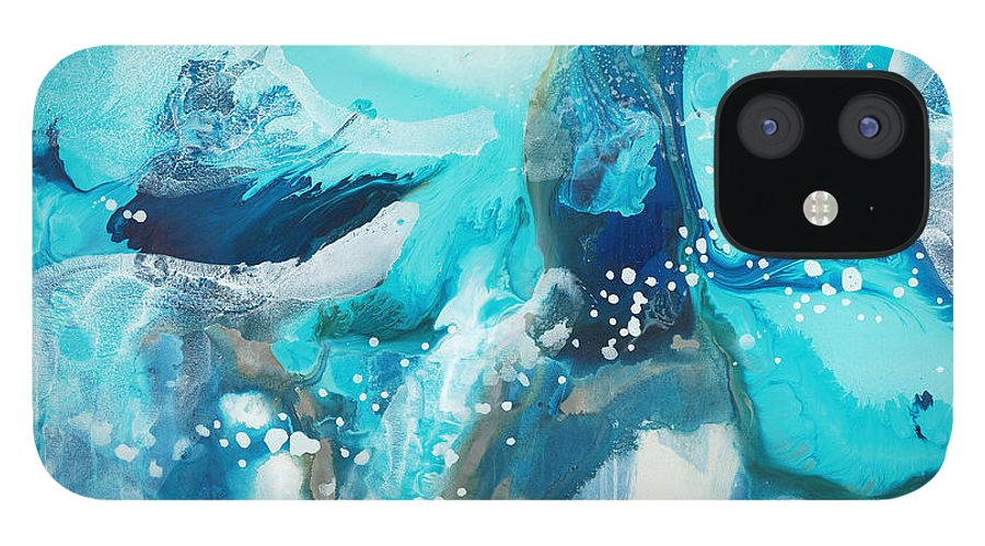 Abstract iPhone 12 Case featuring the painting Brave Depths by Claire Desjardins