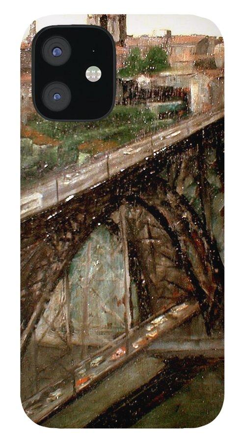 Porto IPhone 12 Case featuring the painting Bridge Luis I-Oporto by Tomas Castano