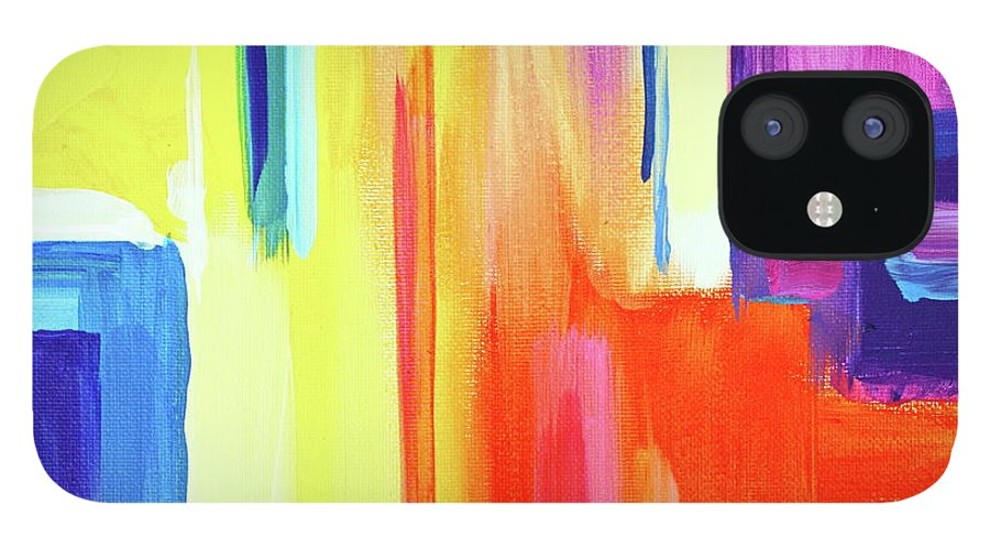 Compelling Vibrant Colorful Minamilist Artwork Consisting Of Mostly Blocky Rectangular Areas . IPhone 12 Case featuring the painting Bright Blocks by Priscilla Batzell Expressionist Art Studio Gallery