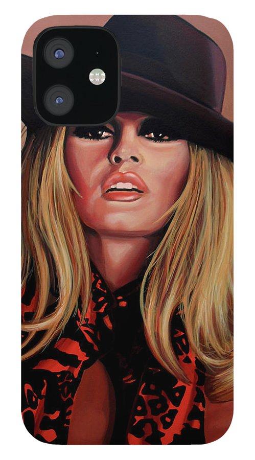 Brigitte Bardot IPhone 12 Case featuring the painting Brigitte Bardot Painting 1 by Paul Meijering