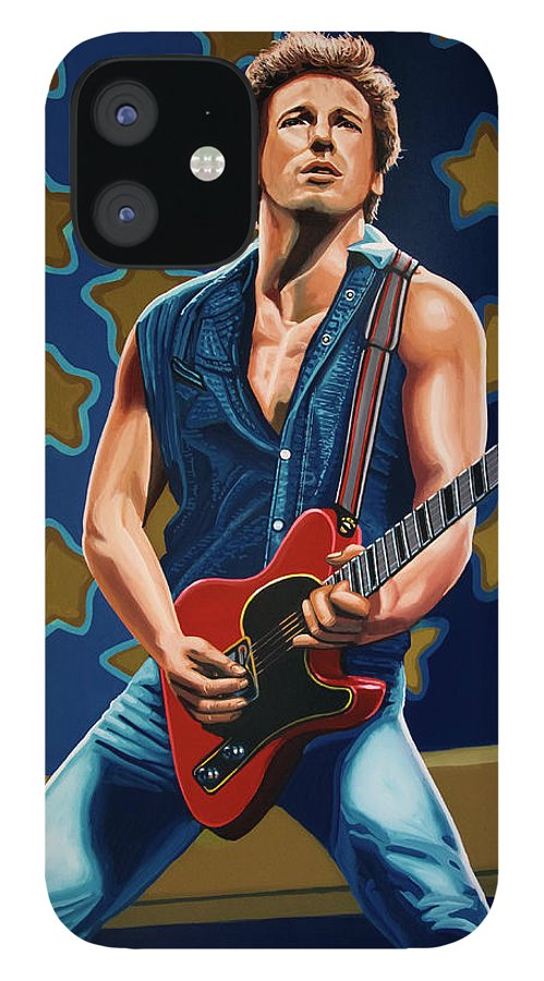 Bruce Springsteen IPhone 12 Case featuring the painting Bruce Springsteen The Boss Painting by Paul Meijering