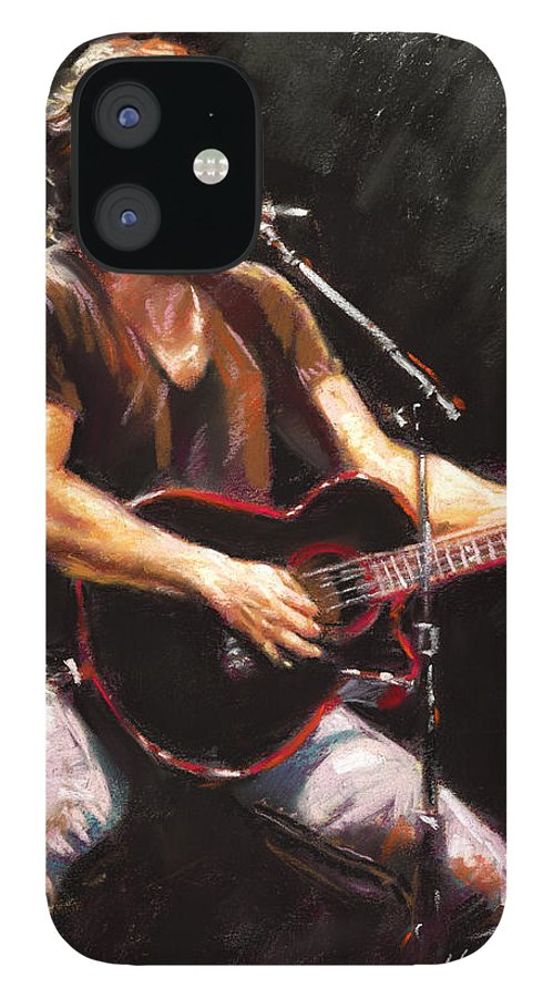 Bruce Springsteen IPhone 12 Case featuring the pastel Bruce Springsteen by Ylli Haruni
