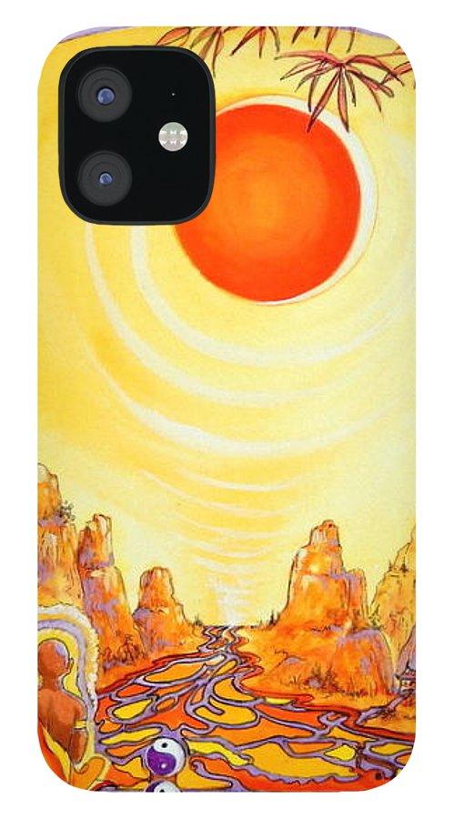 Buddha Meditation IPhone 12 Case featuring the painting Buddha Meditation by Caroline Patrick