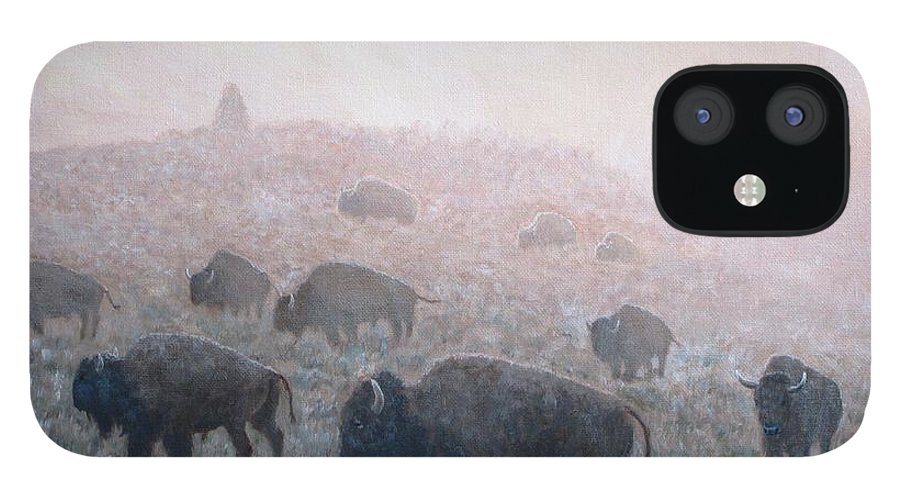 Western Art iPhone 12 Case featuring the painting Buffalo in Yellowstone Fog by Scott Robertson