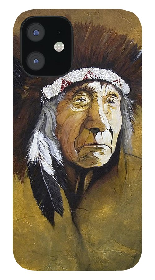 Shaman IPhone 12 Case featuring the painting Buffalo Shaman by J W Baker