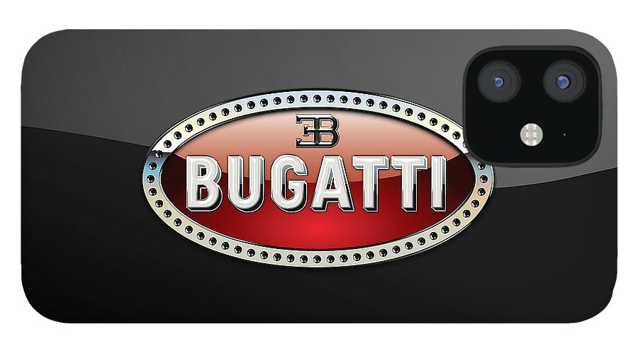 �wheels Of Fortune� Collection By Serge Averbukh IPhone 12 Case featuring the photograph Bugatti - 3 D Badge on Black by Serge Averbukh