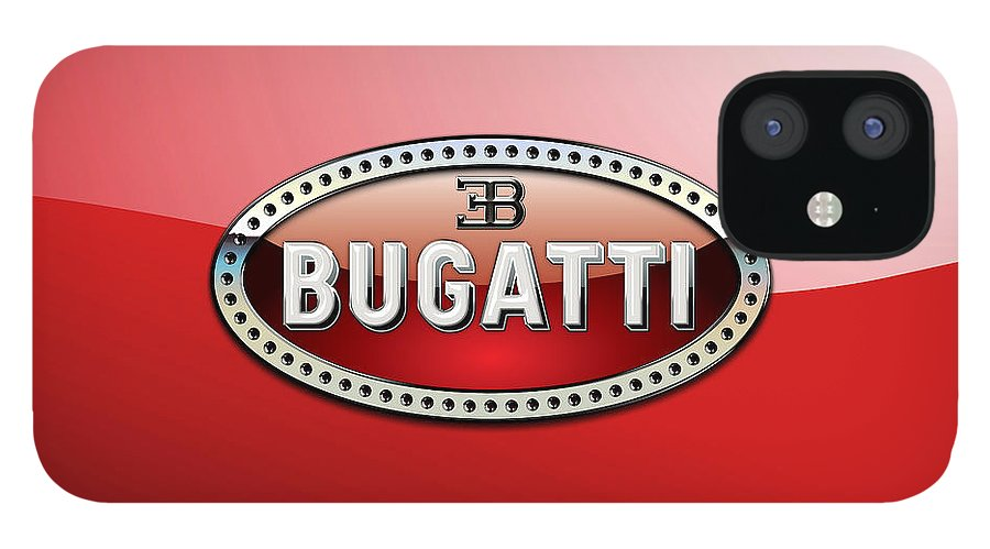 �wheels Of Fortune� Collection By Serge Averbukh IPhone 12 Case featuring the photograph Bugatti - 3 D Badge on Red by Serge Averbukh