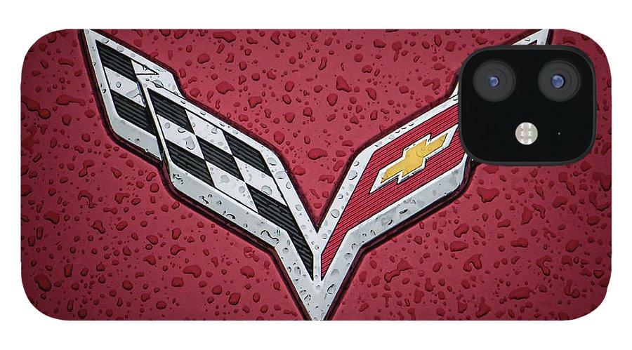 Corvette IPhone 12 Case featuring the digital art C7 Badge Red by Douglas Pittman