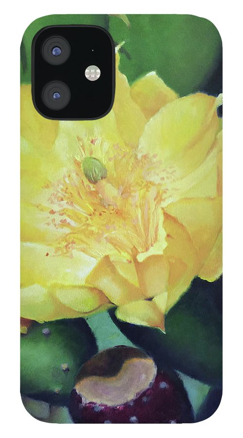 Floral IPhone 12 Case featuring the painting Cactus Rose by Teri Rosario