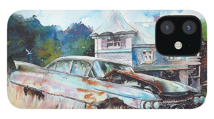 Cadillac IPhone 12 Case featuring the painting Caddy Sliding Down the Slope by Ron Morrison
