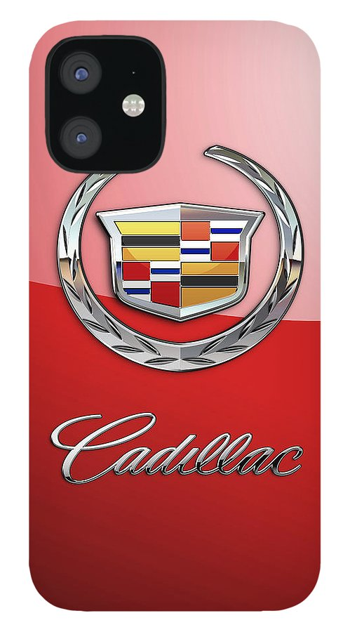 �wheels Of Fortune� Collection By Serge Averbukh iPhone 12 Case featuring the photograph Cadillac - 3 D Badge on Red by Serge Averbukh