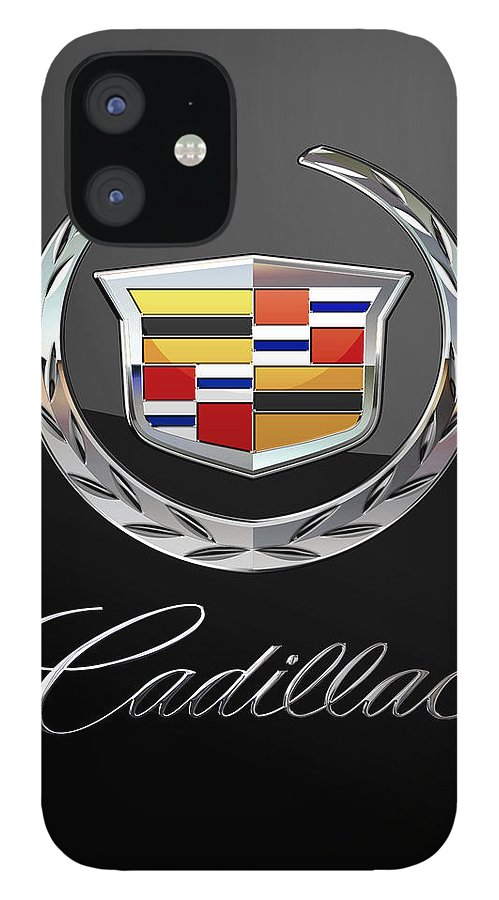 'wheels Of Fortune' By Serge Averbukh IPhone 12 Case featuring the photograph Cadillac - 3 D Badge On Black by Serge Averbukh