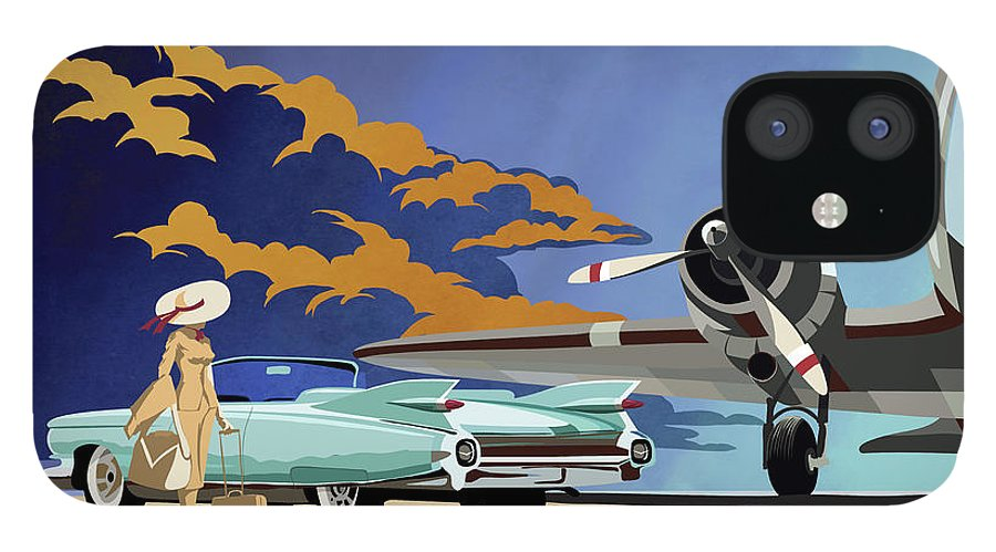 Cadillac IPhone 12 Case featuring the painting Cadillac Eldorado 1959 by Sassan Filsoof