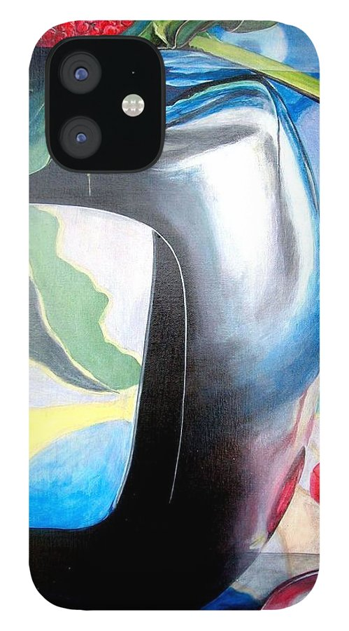 Nature-morte IPhone 12 Case featuring the painting Cadre by Muriel Dolemieux