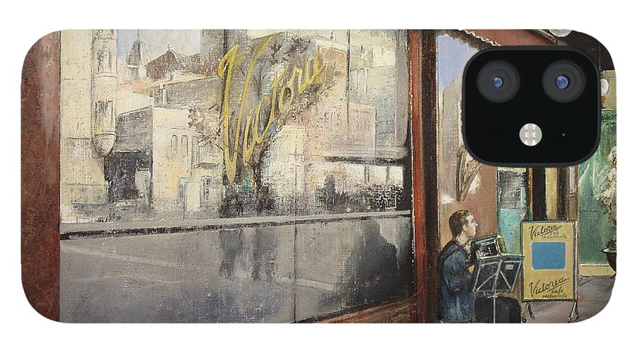 Cafe IPhone 12 Case featuring the painting Cafe Victoria by Tomas Castano