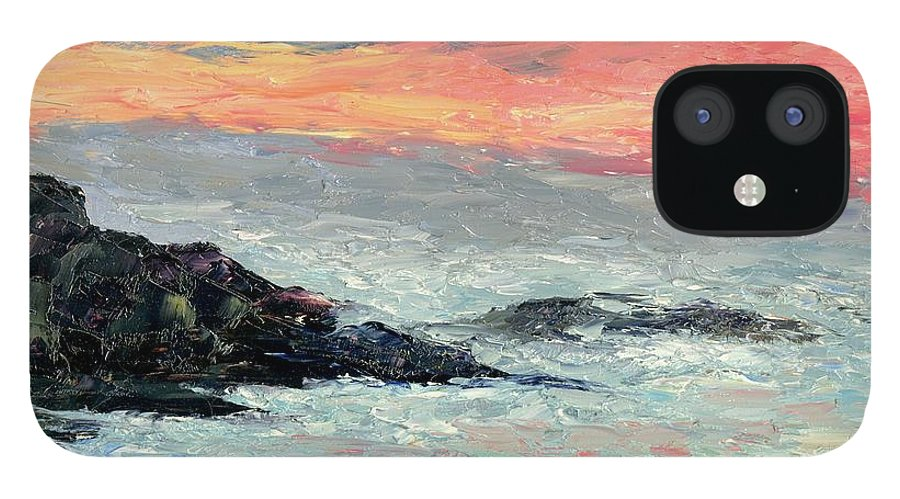 Seascape IPhone 12 Case featuring the painting California Coast by Gail Kirtz