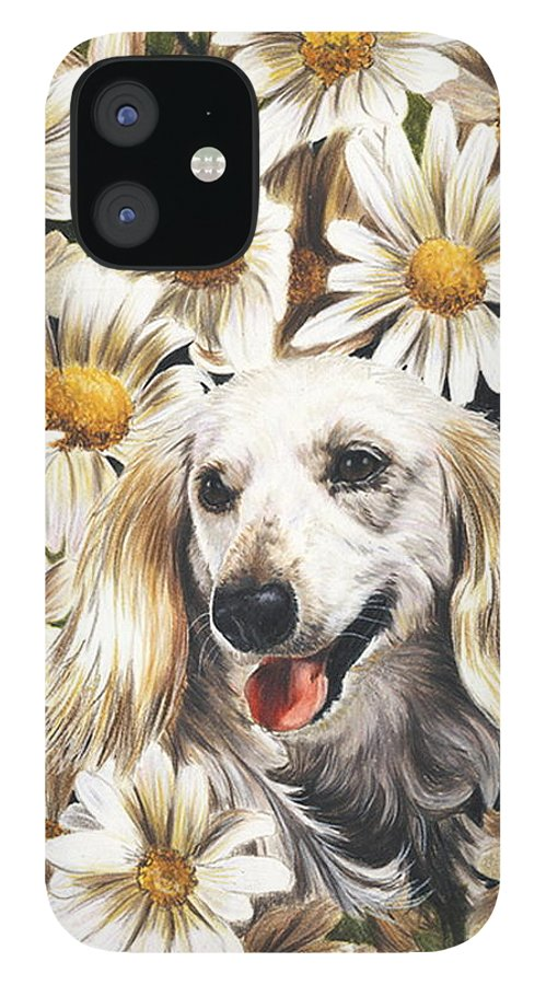 Dachshund IPhone 12 Case featuring the drawing Camoflaged by Barbara Keith
