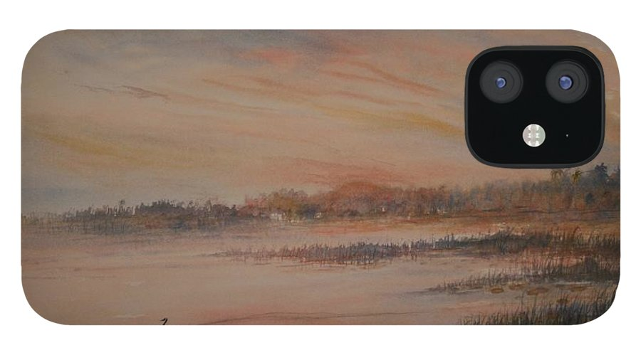 Landscape;geese;birds; Marshes; Sunset IPhone 12 Case featuring the painting Canadian Geese at Sunset by Ben Kiger